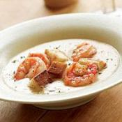 Image of White Bean Soup With Sauteed Shrimp & Garlic Croutons, Recipe.com