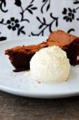 Image of Flourless Chocolate Torte With Vanilla Ice Cream, Saveur