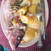 Boiled Fish with Onion Sauce and Fungi