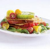 Image of Heirloom Tomato Napoleon With Parmesan Crisps And Herb Salad, Fine Cooking