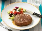 Image of Barbecued Scotch Fillet Steak With A Greek Salad, The Main Meal