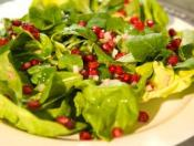 Image of Butter Lettuce, Mache And Pomegranate Seeds Dressed With Champagne Vinaigrette, Cooking Channel