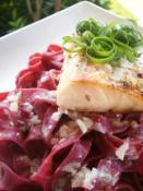 Image of Fresh Beet Pasta With Sauted Mahi In A Sauvignon Blanc Sauce, Cooking Hawaiian Style