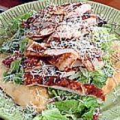 Image of Parmesan Pizza Crust Filled With Emerils Kicked Up Chicken Caesar Salad Recipe, Group Recipes